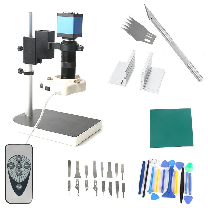 Dual display output Newest 14MP 1080P HDMI VGA Industrial Video Microscope Camera sets Repair kit 130X C-Mount for Phone Repair