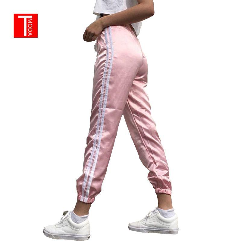 2018 Printemps Été Femmes Satin Loisirs Pantalon Occasionnel Multicolore Rétro Blanc Rayé Côté Fermé Confortable Pantalon Femme