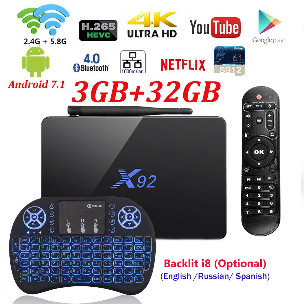 [Genuine] X92 2GB/3GB 16GB/32GB <font><b>Android</b></font> 7.1 TV Box Amlogic S912 Octa Core KD16.1 2.4/5Ghz Wifi 4K Smart Media player Set top box
