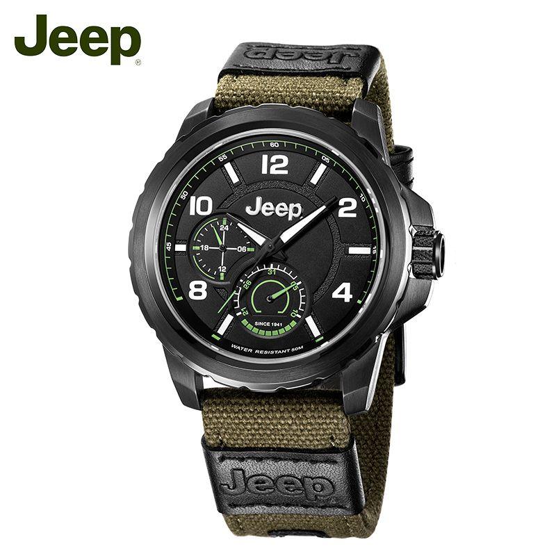 Jeep Original Männer Uhren Outdoor Quarz Grün Leinwand Strap Kalender Stahl 50 mt Wasserdicht Luxus Marke Männliche Uhr JPW64603