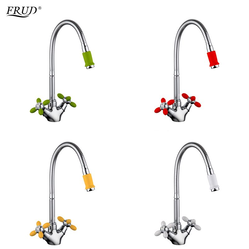 FRUD Innovative Fashion Kitchen Mixer Cold and Hot Water Flexible Kitchen Tap Red Yellow Green White Faucets Torneira r43127-6