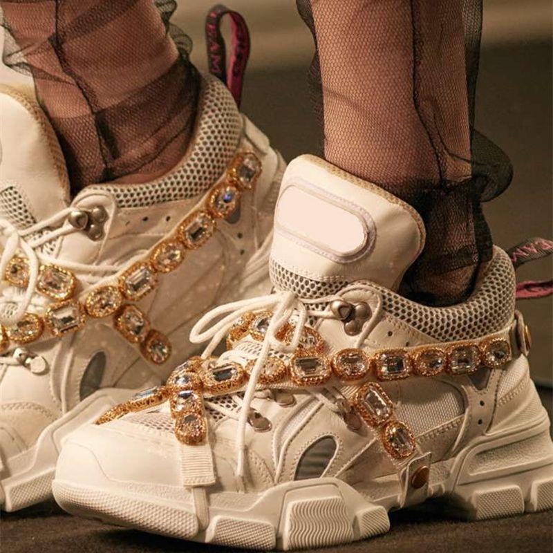 Neue Luxus Marke Handgemachte Kristall Verziert Mischfarben Plattformen Trainer Schuhe Lace Up Ultra Turnschuhe Pre-auftrag Schuhe Frau