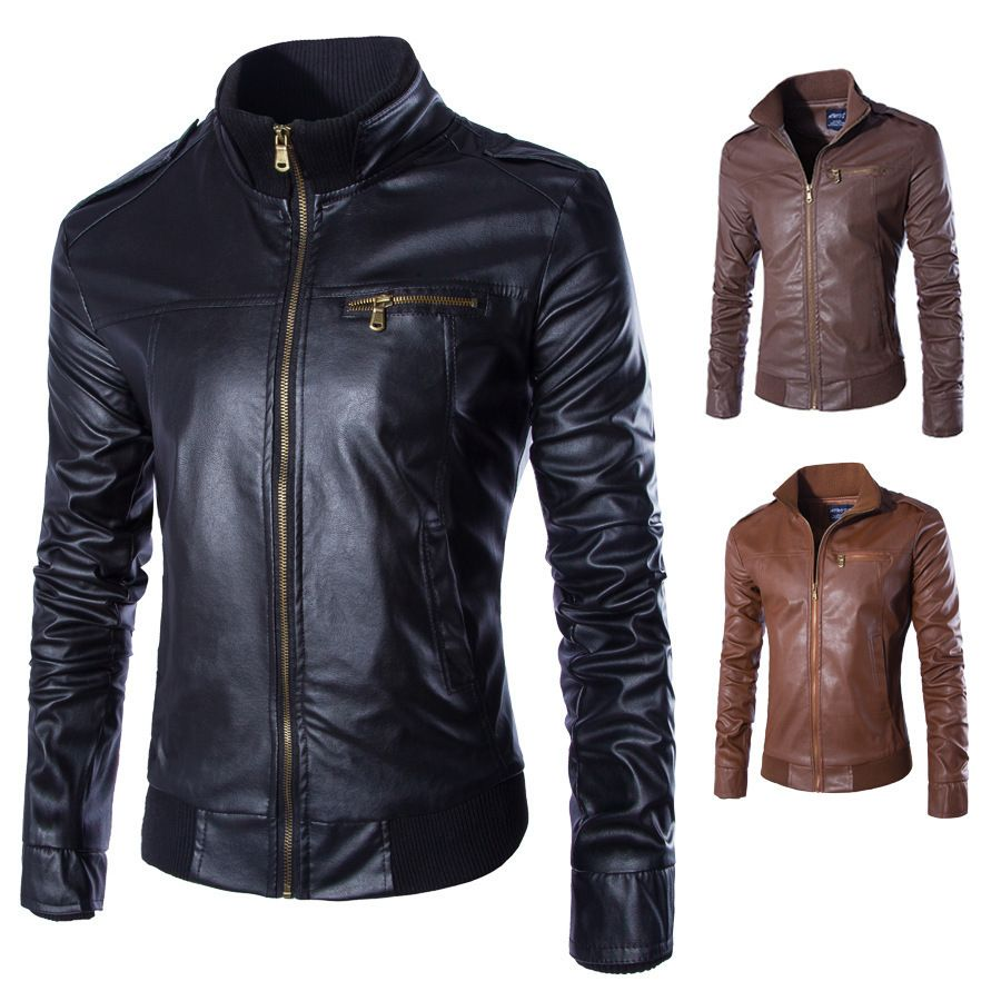 LASPERAL Newest Motorcycle Leather Jackets Men Solid Business Casual Coats Autumn Winter Leather Clothing Bomber Jacket for Male