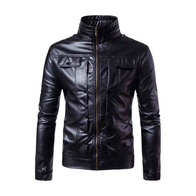 Faux Leather 4XL Jacket Fashion New 2018 Spring Winter Mens Slim Motorcycle Biker Jackets Coat Jaqueta Masculina Outwear Parka