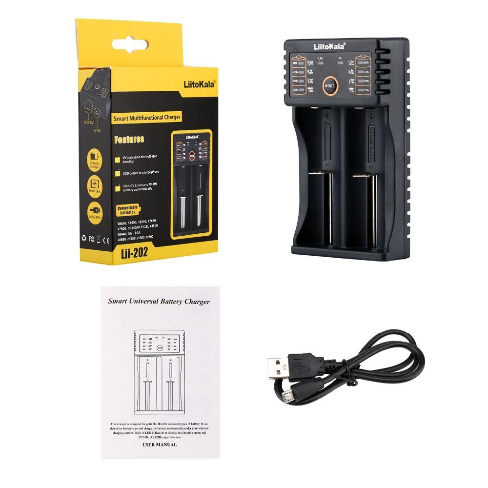 LiitoKala Lii-100 lii-202 18650 Batterie Chargeur Pour 26650 16340 RCR123 14500 LiFePO4 1.2 V Ni-MH Ni-cd Rechareable Batterie