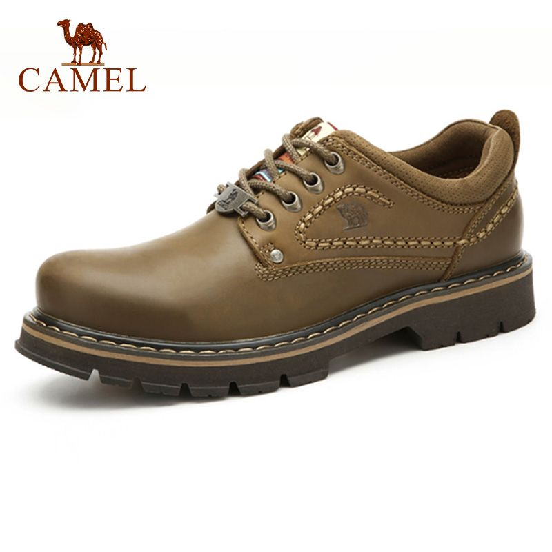 CAMEL Fashionable Genuine Leather Man Shoes Casual Wear-resistant Leather Anti-skid Sewing Line Tooling Shoes Footwear