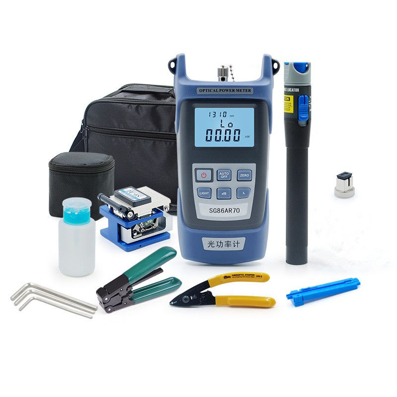 FTTH Fiber Optic Tool Kit with Medidor Fibra Optic and Visual Fault Locator and Cable Cutter Wire Stripper FC-6S Fiber Cleaver