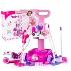Vacuum Cleaner Toy for Kids Housekeeping Cleaning Trolley Play game Set Mini Clean Up Cart for girl Aspirateur Jouet Christmas
