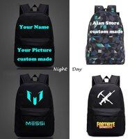 Messi Minecraft CR7 Fortnite Game School Backpacks Children Bts Custom Made Letter Printing Glowing Backpack Kids Gift