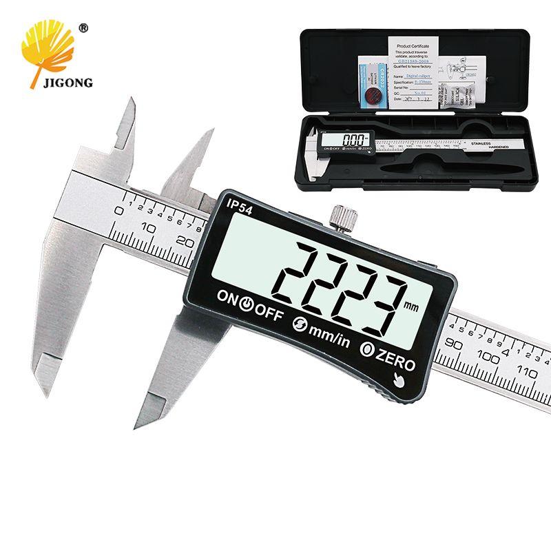 JIGONG stainless steel 150mm Digital Caliper IP54 coolant proof digital Caliper full-screen LCD display