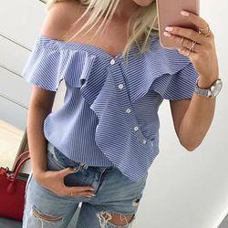 Ldzhps 2018 mujeres verano sexy de hombro blusa casual manga corta ruffle button Tops señoras rayas partido Camisas