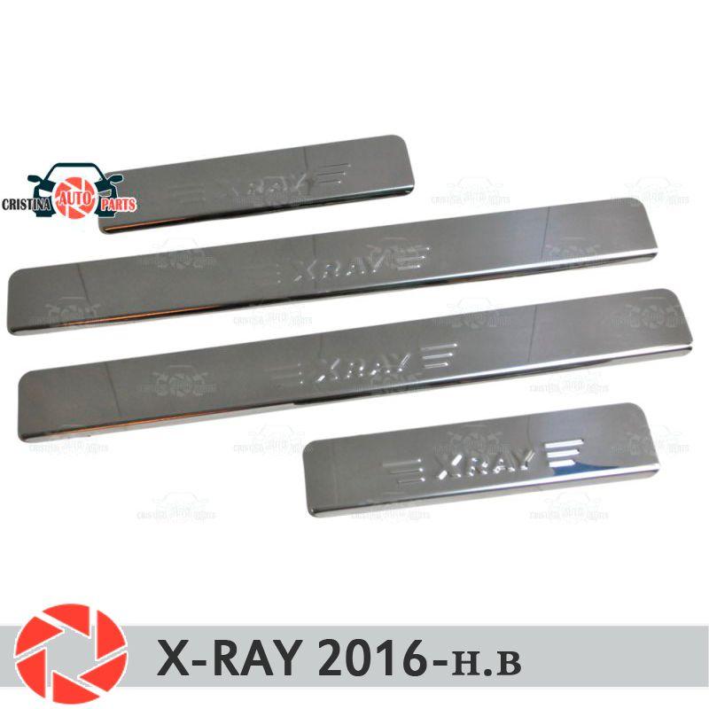 Für Lada X-Ray 2016-einstiegsleisten schritt platte panel protectection auto styling dekoration innen molding tür panel stempel