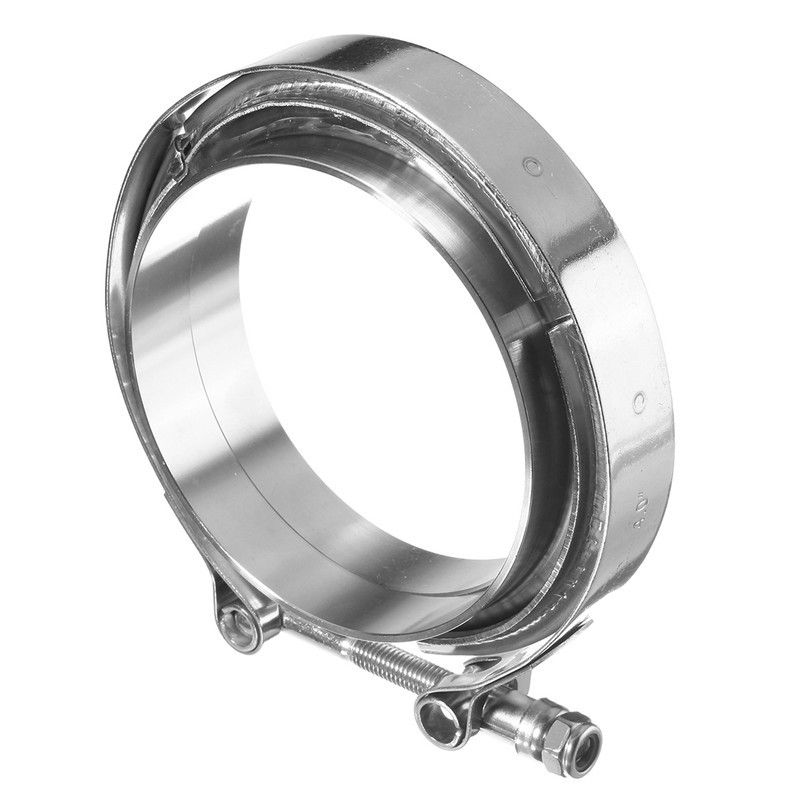 MTGATHER 4 Inch Turbo Exhaust Down Pipe Stainless Steel 304 V-Band Clamp +2 Flange New Pipe Connection New Arrival