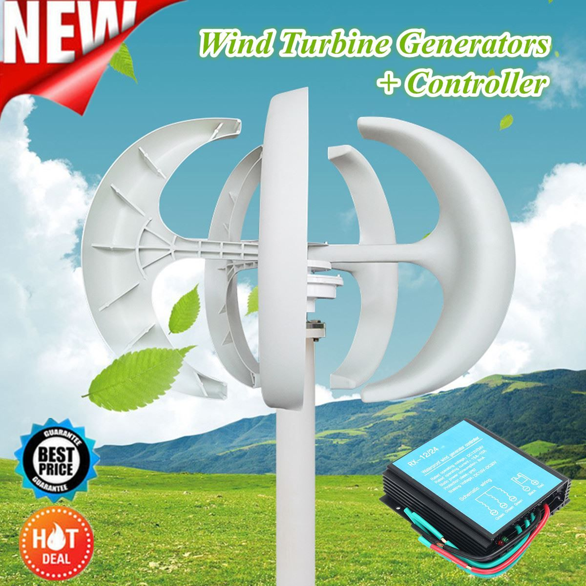 New Hot Sale 100-300W 12/24V Wind Generator Automatic Adjustable Latern Generator With Wind Controller For Home Power Supply