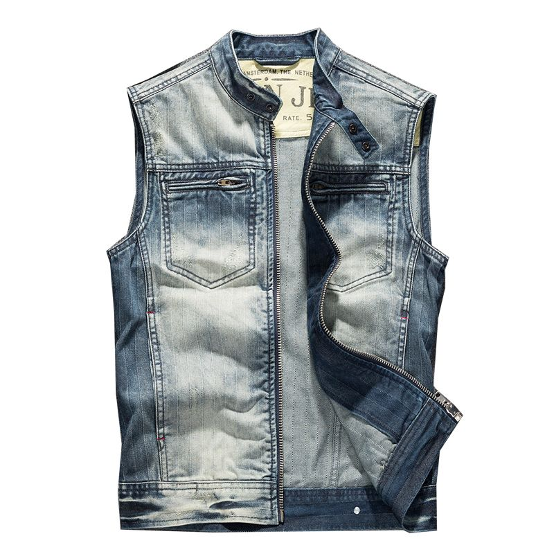 New Fashion Men's Style Jeans Vest With Rivets Novelty Hip Hop Sleeveless Jeans Jackets For Man Blue