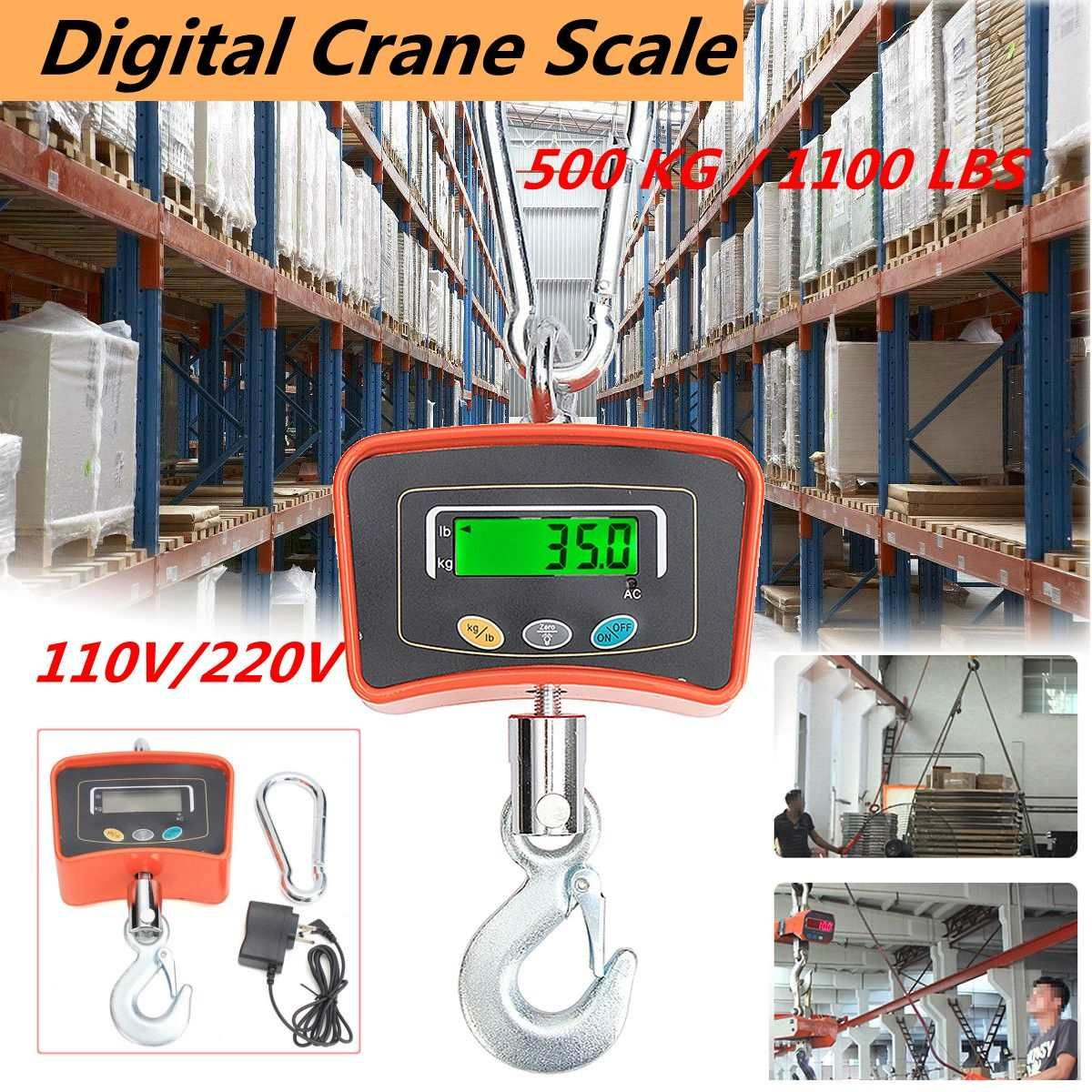 500KG/1100 LBS Digital Crane Scale 110V/220V Heavy Duty Industrial Hanging Scale Electronic Weighing Balance Tools