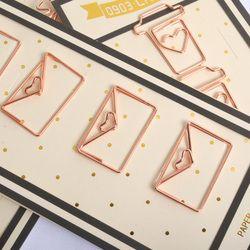 4 PCS/LOT Rose Or Métal Coeur Forme Papier Clips Drôle Kawaii Signet Bureau École Papeterie Marquage Clips