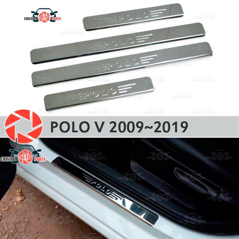 Einstiegsleisten für Volkswagen Polo V 2009 ~ 2019 schritt platte inneren trim zubehör schutz scuff auto styling dekoration stempel lette
