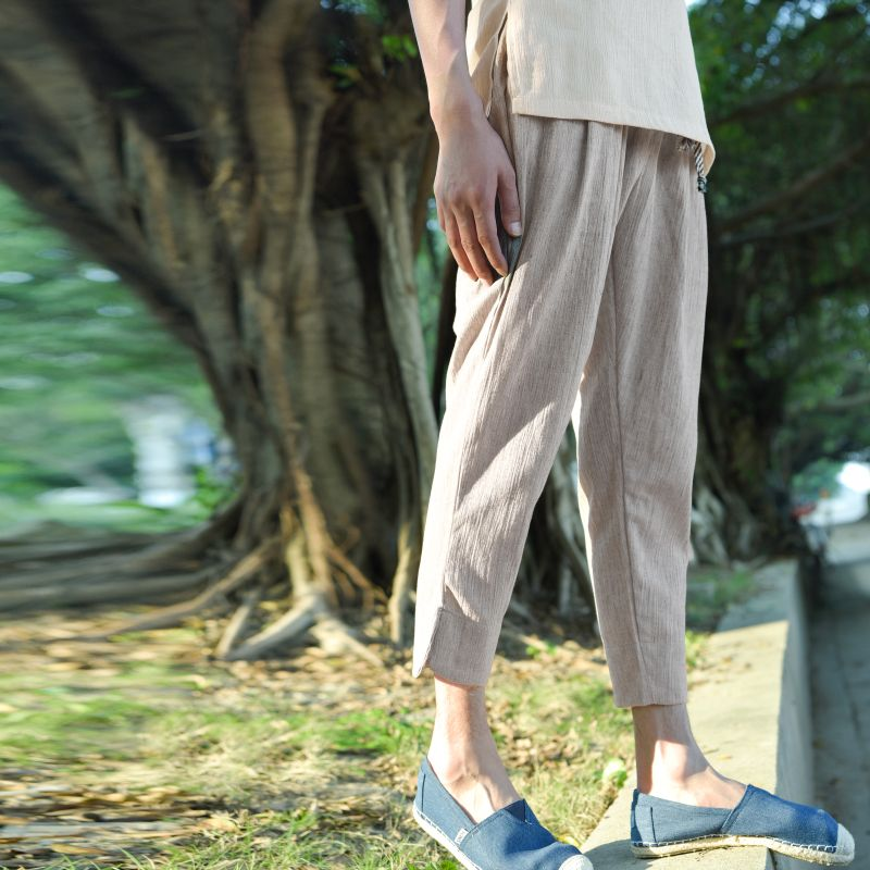 2018 summer linen trousers men's trousers are pure color thin section nine <font><b>points</b></font> pants Chinese wind easing casual pants cotton