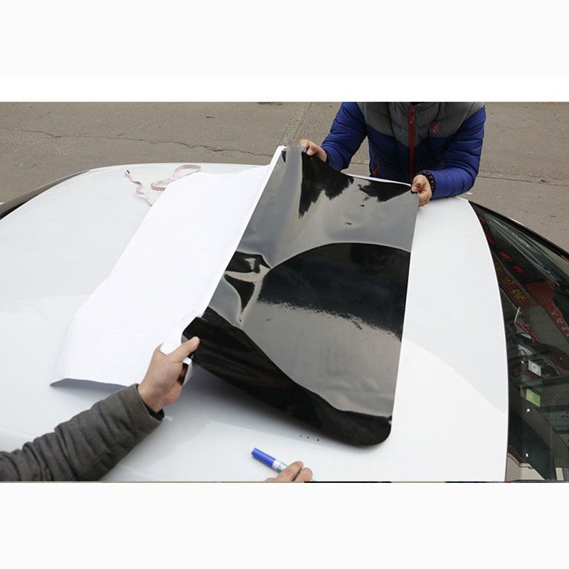 CHIZIYO 79X38cm Fake Sunroof Black Car Sticker Car Roof Sticker Simulation Sunroof Film Edge Strip Optional