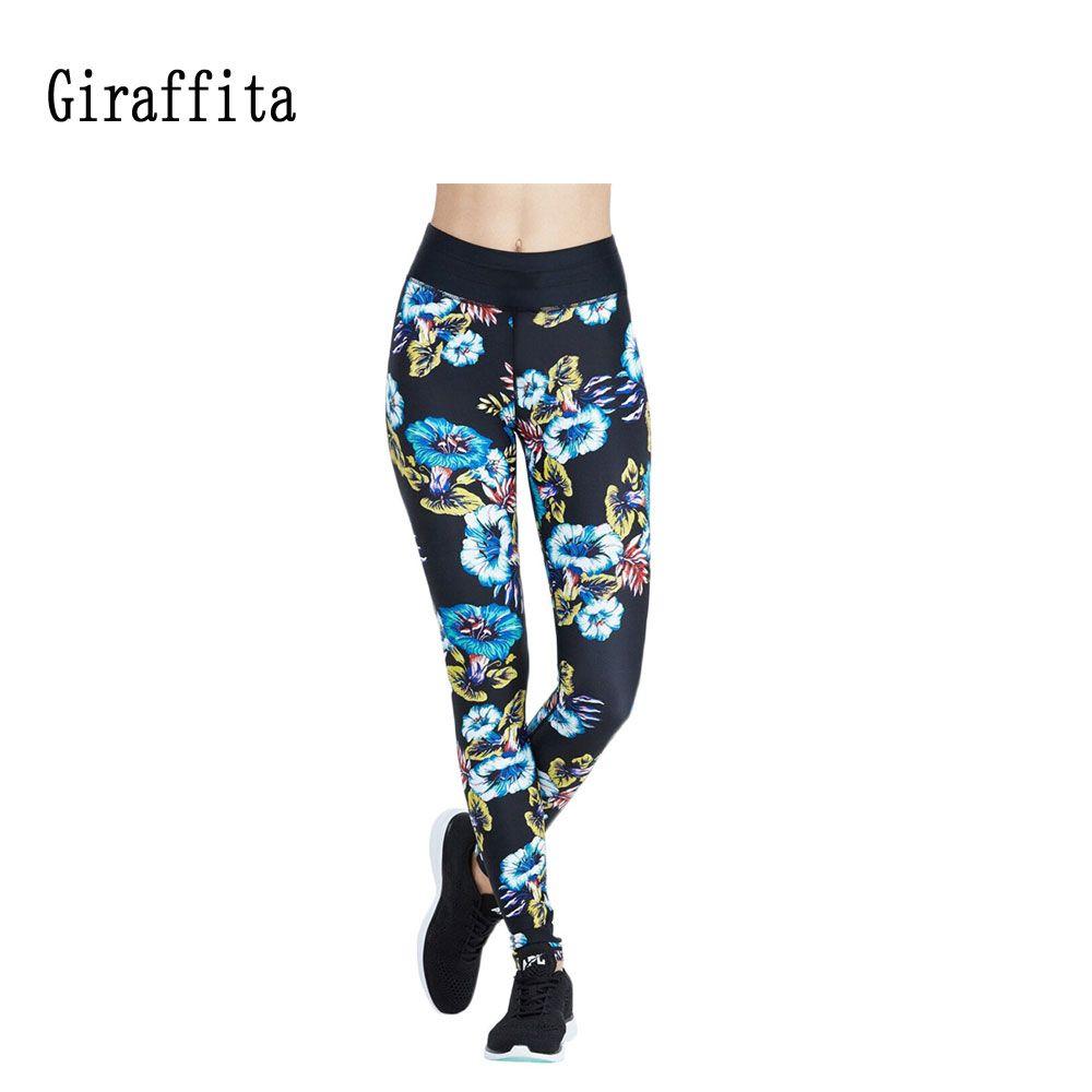 Flower Printing Yoga Pants Girls Sport Running Pants Jogging Black Pants Fitness Yoga Gym Elastic Pants
