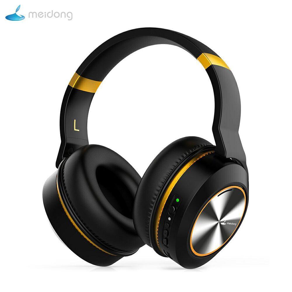 Meidong E8E Active Noise Cancelling Bluetooth Headphones Over Ear Wireless Headset with Mic HiFi Stereo Deep Bass Earphone