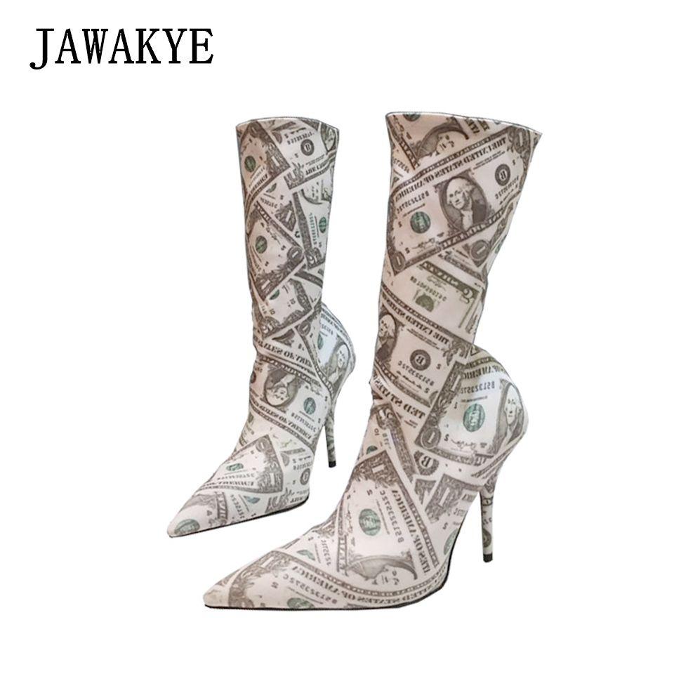 JAWAKYE Elastic 10CM high heels Runway sock shoes woman Pointy toe Stretch autumn Short booties Print dollar socks boots women