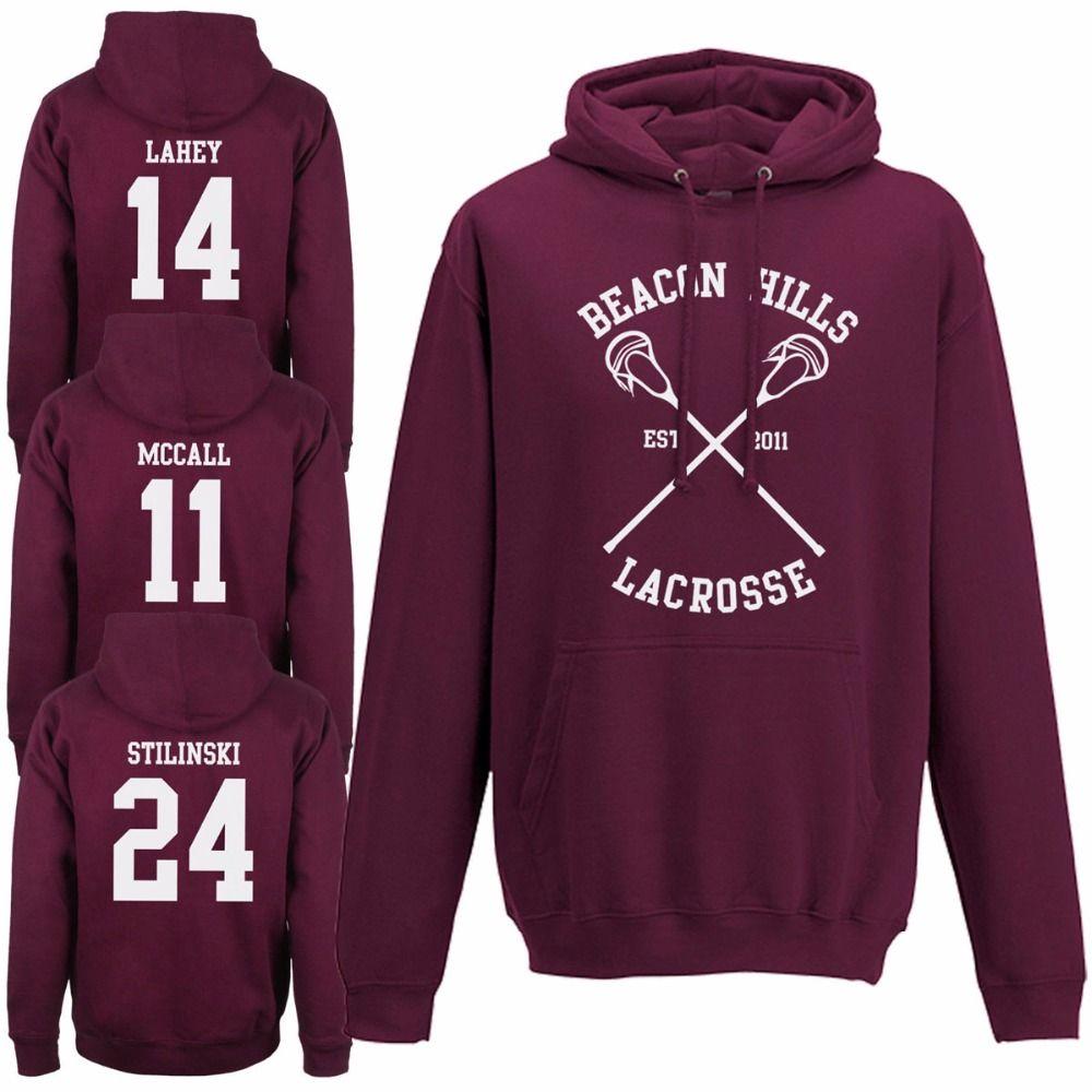 Laukexin Womens Hoodies Beacon Hills Lacrosse Hoodie Teen Wolf STILINSKI MCCALL LAHEY Ladies Hooded Tops Sweatshirt Custom Hoody