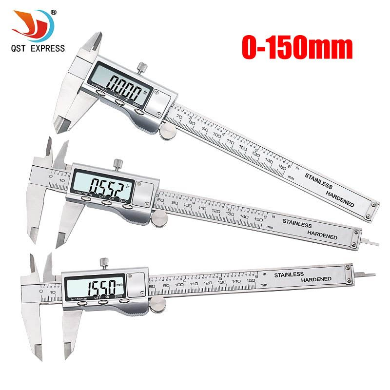 QST EXPRESS Metal 6-Inch 150mm Stainless Steel Electronic Digital Vernier Caliper Micrometer Measuring
