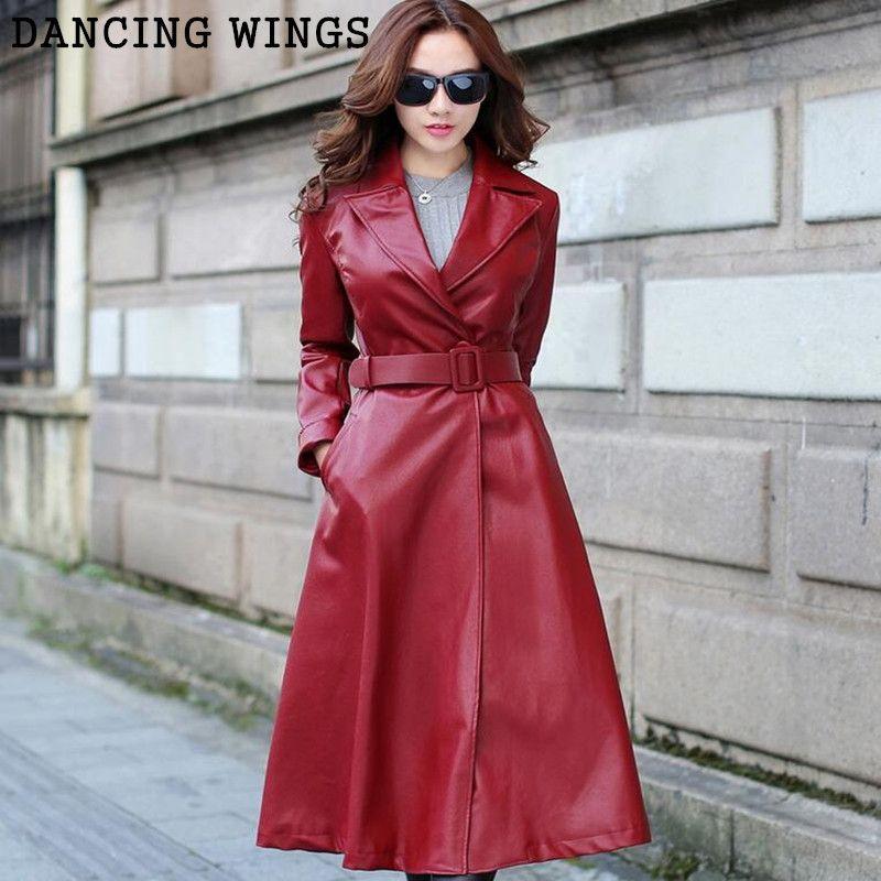 New fashion PU leather women's autumn windbreaker slim temperament warm X long jacket trenchcoat black/red