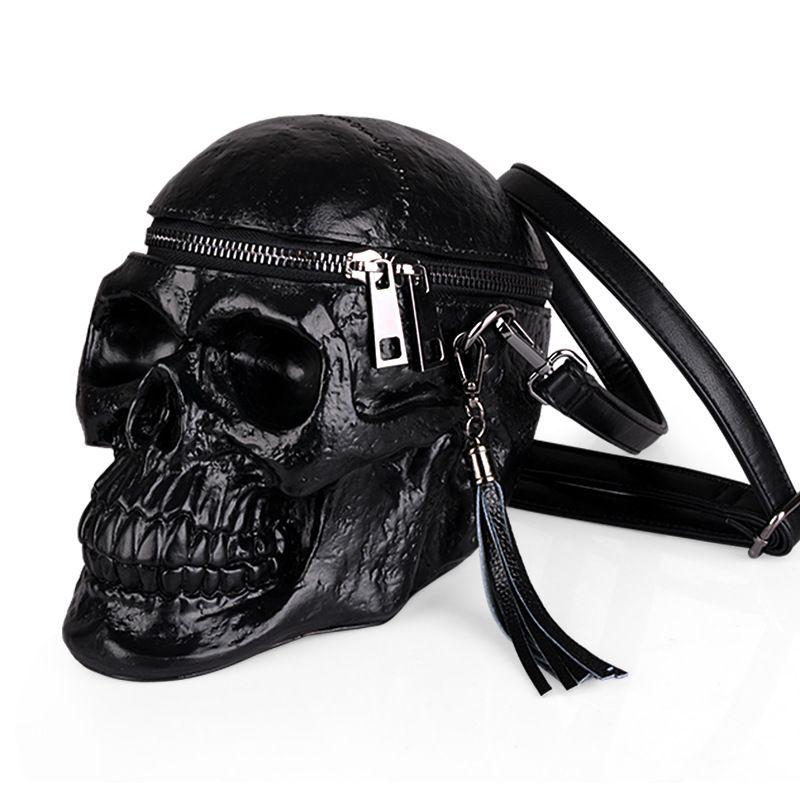 Arsmundi Originality Women Bag Funny Skeleton Head Black handbad Men Single Package Fashion Designer Satchel Package Skull Bags