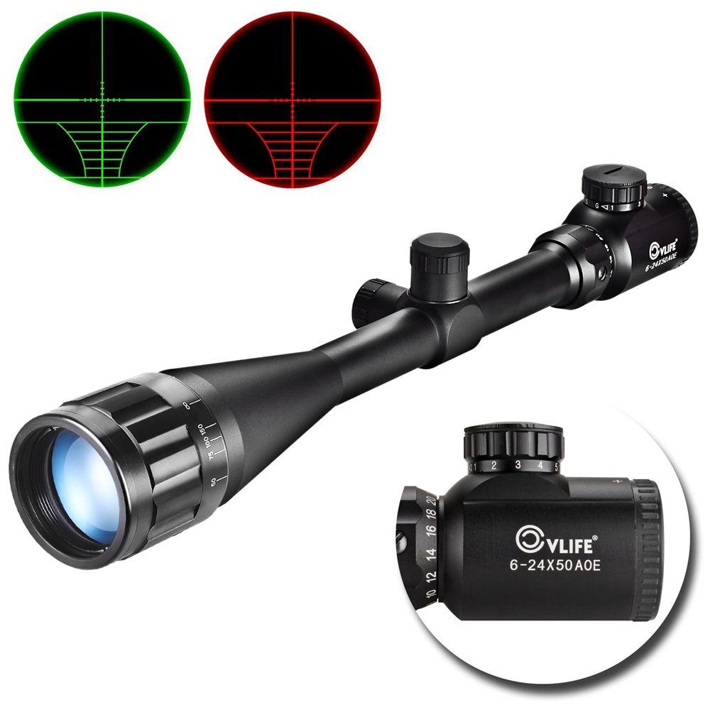 CVLIFE Optique Fusil de Chasse Portée 6-24x50 AOE Rouge et Vert Lumineux Crosshair Gun Lunettes de lunettes de Visée w/Supports Gratuits