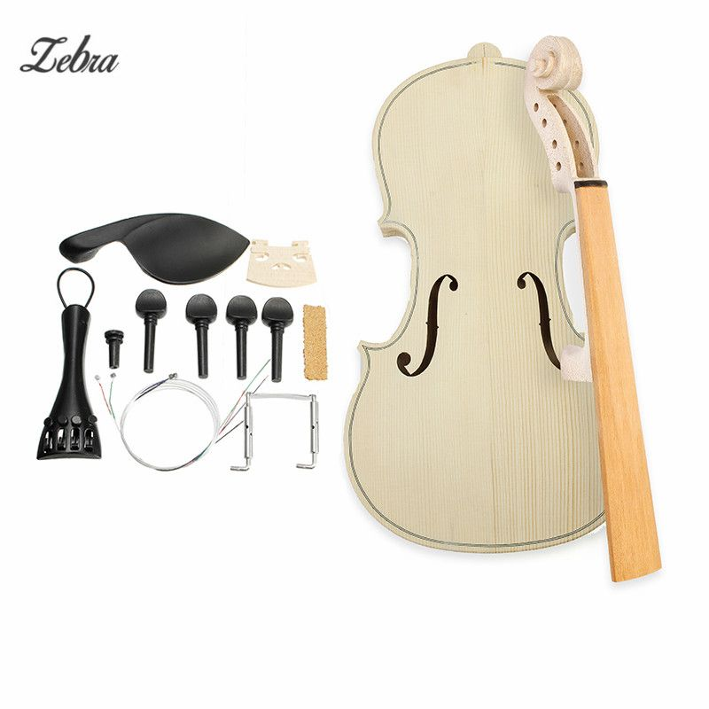 Zebra 4/4 Size DIY Natural Solid Wood Violin Fiddle Kit with Spruce Top Maple Back Fiddle For Violin Musical Instruments Lover