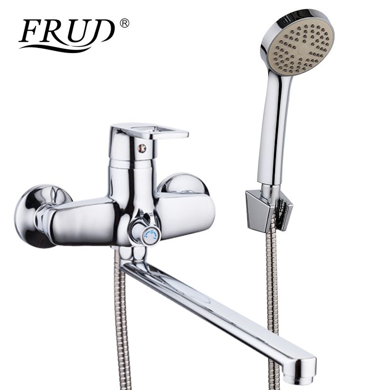 FRUD New 1 Set Bathroom Shower Faucet Set Chrome Bathtub Faucet Mixer Tap <font><b>Wall</b></font> Mounted Waterfall Bathtub Faucet With Hand R22072