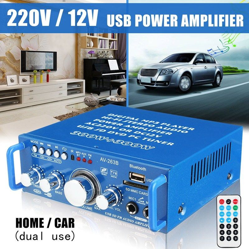 Mini Dual Use Audio Power Amplifier Stereo USB SD FM Bluetooth Hi-Fi Player 220V/12V For Home Stage For Car With Remote Control