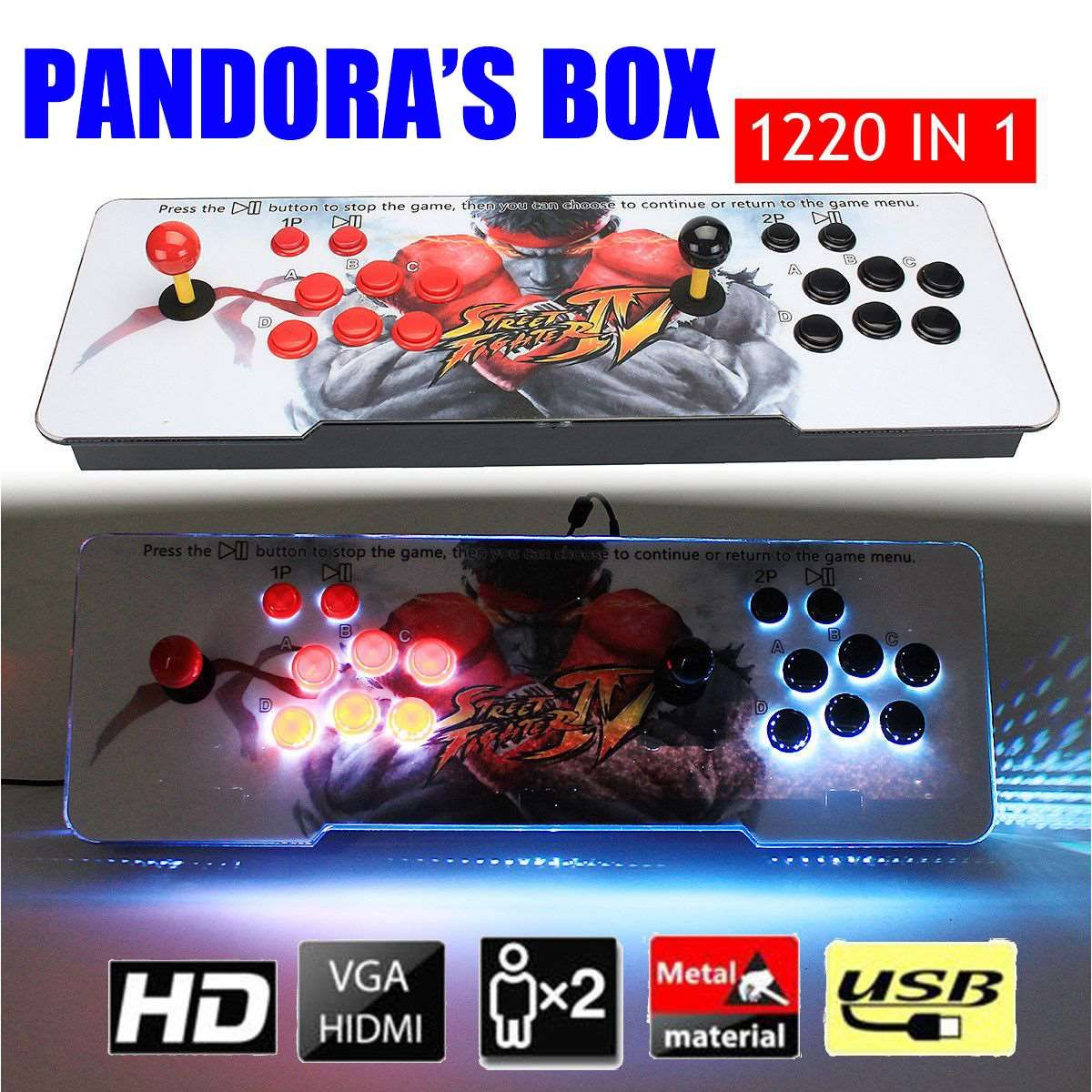 New 1220 in 1 Pandora's Box 5S Arcade Console Double Stick Retro Video Game LED Lamp Best Gift For Children
