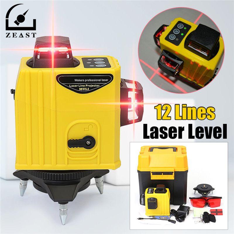 Laser Level 12 Lines 3DLaser Points Level Tilt Function 360 Rotary Self Lleveling Outdoor Corss Line Lazer Tools Measurement