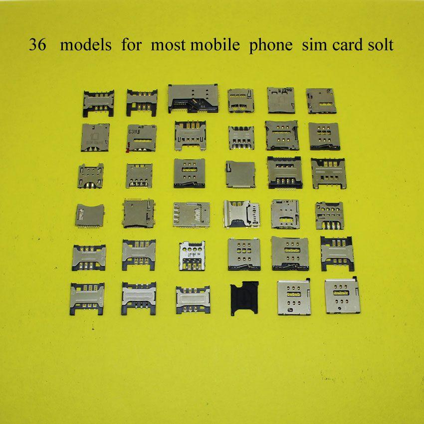 36 modèles, chaque pour plus mobile téléphone sim SD TF carte mémoire socket holder plateau fente, pour Apple 4 5 5S 6/lenovo/pour Nokia Sony 36L