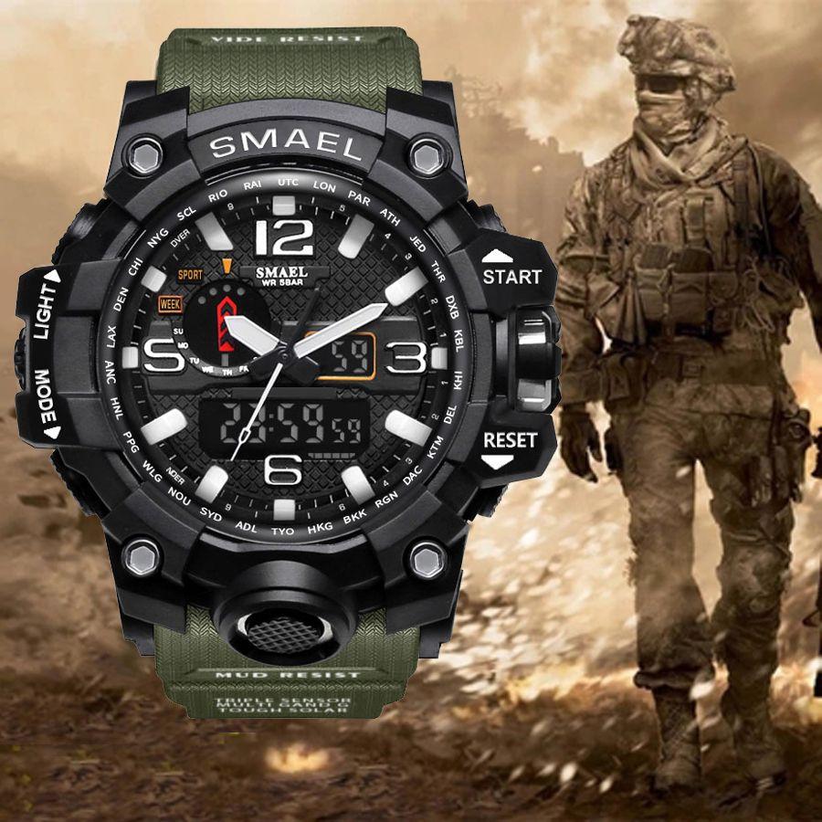 Top marque de luxe G de style hommes militaires Sport Montres Double Affichage Mens Quartz Montre-Bracelet Hommes Étanche Montre Numérique Relogio
