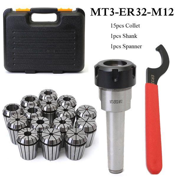 MT3 ER32 M12 Collet Chuck Taper Holder + 15Pcs ER32 Spring Collet 3-20mm Spanner