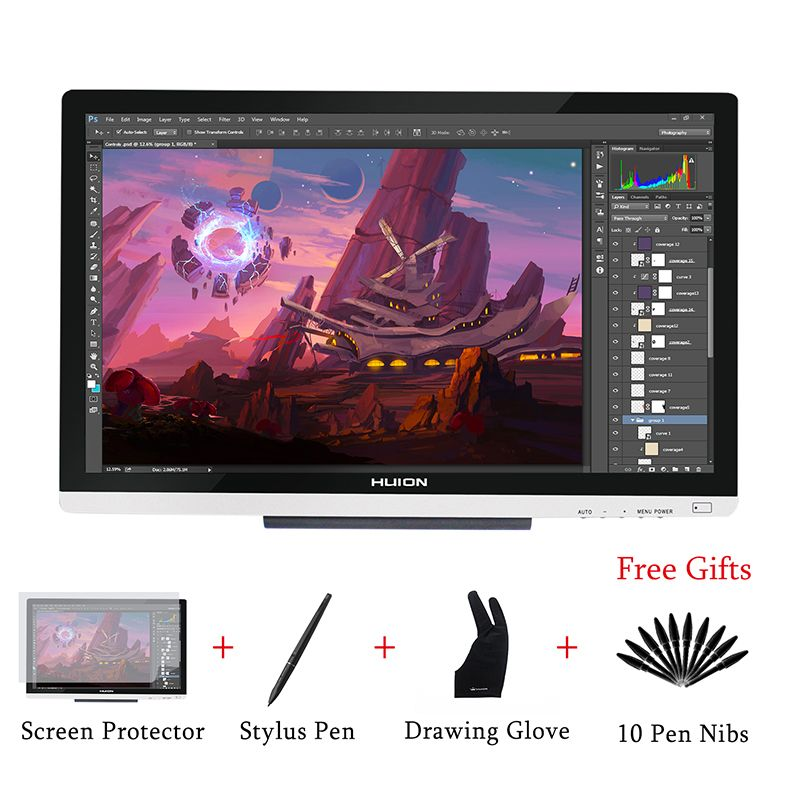 HUION GT-220 V2 Drawing Pen Display Monitor 21.5 Inch IPS Pen Tablet Monitor with HD Screen for Win and Mac 8192 Levels