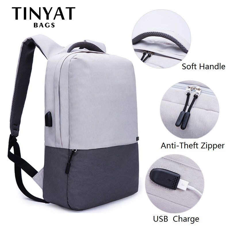TINYAT Men Laptop Backpack For 15.6 inch USB Charging Backpacks Computer Anti-theft Bag <font><b>School</b></font> Backpack Bag Travel Mochila Women