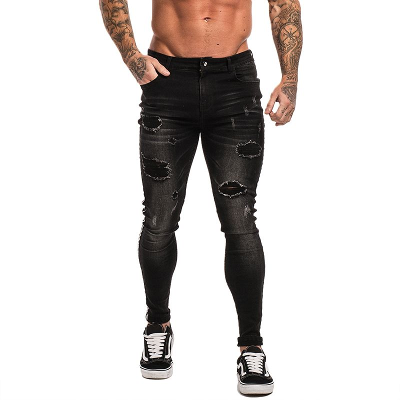 Gingtto Skinny Jeans For Men Black Jeans Distressed Stretch Slim Fit Jeans Big Size Ankle Tight Cotton Spandex Ripped Guys zm23