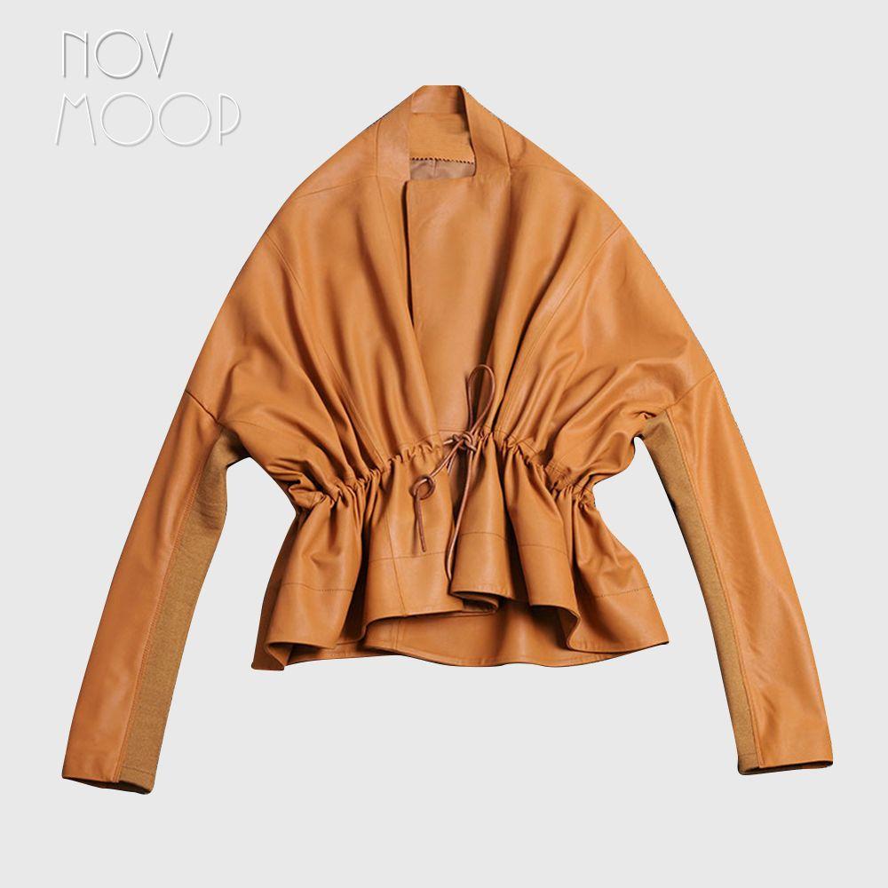 Frauen karamell echtem leder korrigiert korn lammfell leder mantel jacke krawatte taille elastische rippe stricken panel am ärmel LT2606