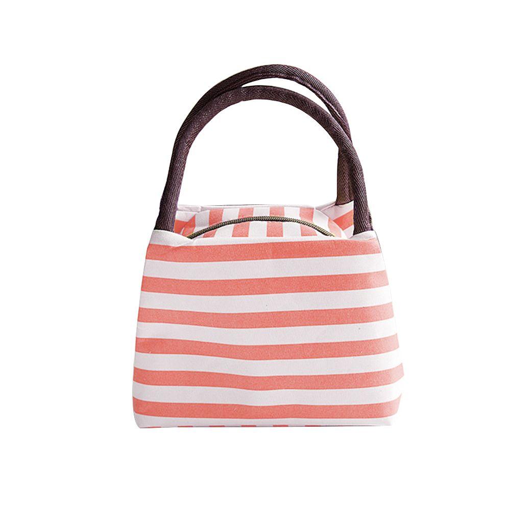 Portable Zipper Striped Lunch Bag Case Travel Picnic Tote Food Storage Handbag