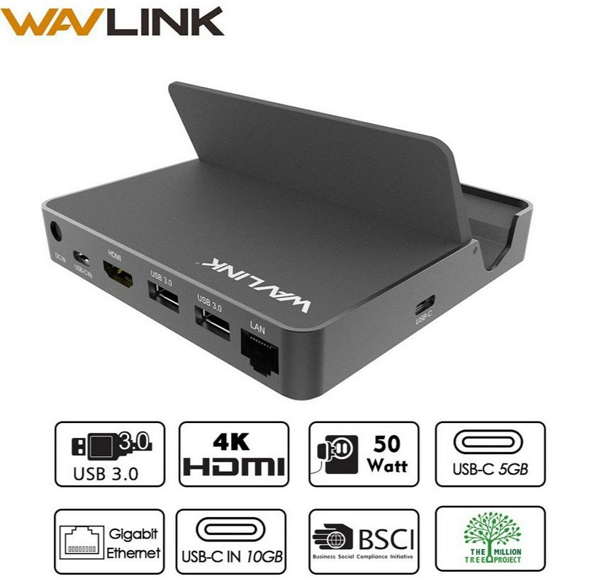Wavlink USB 3.0 Universal Aluminum Mini Docking Station USB 3.1 Gen 2 10Gbps Gigabit Ethernet 4K HDMI USBC Multifunctional Hub