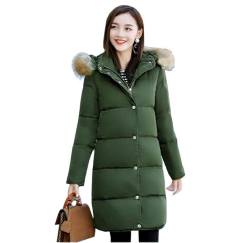 Frauen winter baumwolle jacke Langen abschnitt pelzkragen mit kapuze oberbekleidung hochwertige dicke warme Parka Weiblich Overcoat