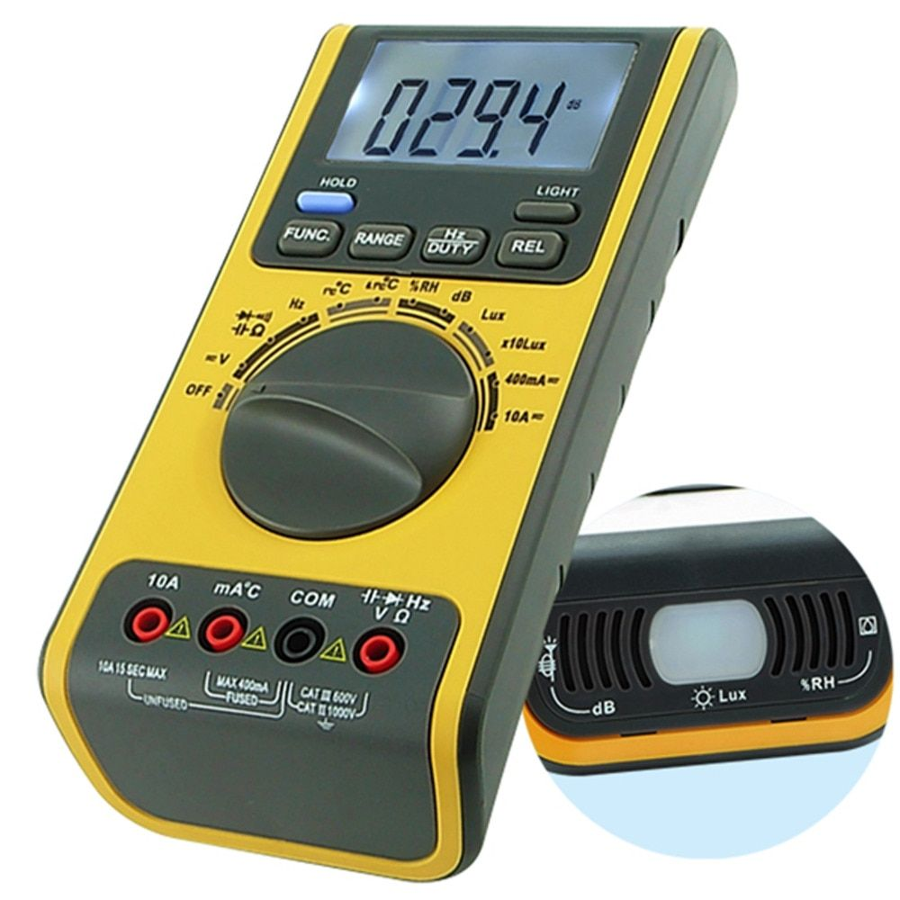 5-in-1 Multifunction Multimeter Lux Light Tester Sound Level Humidity Thermometer Meter 3999 Counts Max