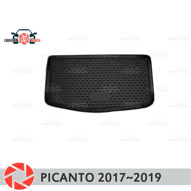 Stamm matte für Kia Picanto 2017 ~ 2019 stamm boden teppiche non slip polyurethan schmutz schutz innen trunk auto styling