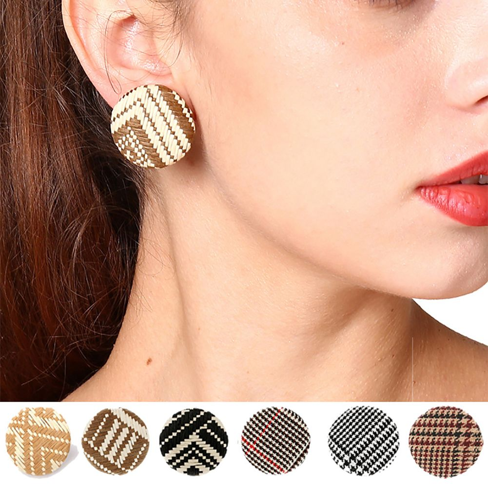 Fashion Round Button Ear Clip No Piercing Earrings Women Lady Jewelry Gift
